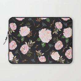 Floral Blossom - Black Backgroud Laptop Sleeve