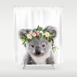 Baby Koala With Flower Crown, Baby Animals Art Print By Synplus Shower Curtain