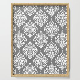 Grey Damask Serving Tray