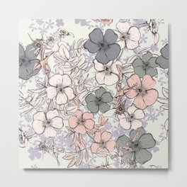 Flower vintage design with wild roses in english style Metal Print
