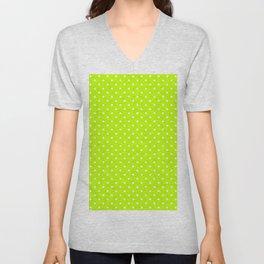 Dots (White/Lime) Unisex V-Neck
