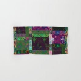 Lotus flower green and maroon stitched patchwork - woodblock print style pattern Hand & Bath Towel
