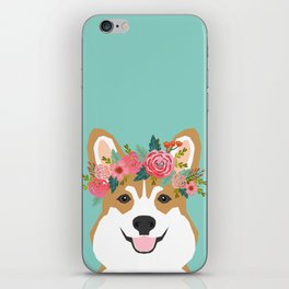 Corgi Portrait - dog with flower crown cute corgi dog art print iPhone Skin