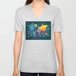 Ocean World Map color #map #worldmap Unisex V-Neck