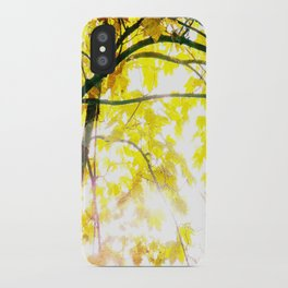 Lovely Autumn Leaves Tree Branch Nature - Canvas Texture iPhone Case