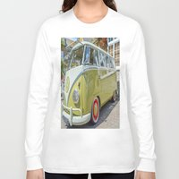 lime green Long Sleeve T-shirts featuring Lime Green Camper Van by Cornish Creations