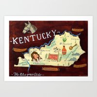 kentucky Art Prints featuring Kentucky by Christiane Engel
