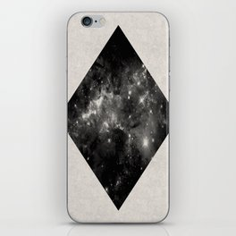 Space Diamond - Abstract, geometric space scene in black and white iPhone Skin