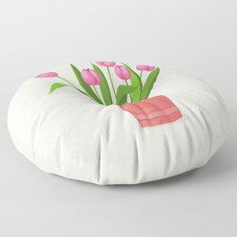 pink tulips in the pot Floor Pillow