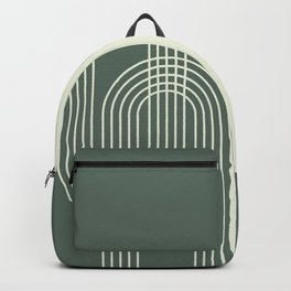 Geometric Lines in Sage Green 12 (Rainbow Abstract) Backpack
