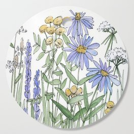 Asters and Wild Flowers Botanical Nature Floral Cutting Board