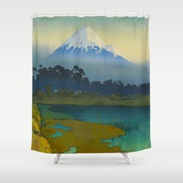 Sunrise (Asahi), Views of Mount Fuji Vintage Beautiful Japanese Woodblock Print Hiroshi Yoshida Shower Curtain