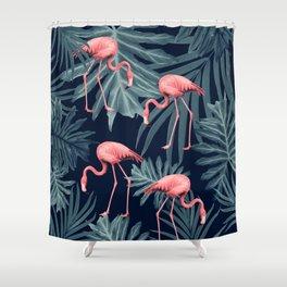 Summer Flamingo Jungle Night Vibes #1 #tropical #decor #art #society6 Shower Curtain