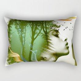 Teal Afro Rectangular Pillow