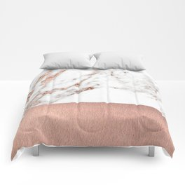 Rose gold marble and foil Comforters