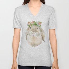 Lop Rabbit Floral Wreath Watercolor Painting Unisex V-Neck