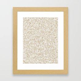 Tiny Spots - White and Khaki Brown Framed Art Print
