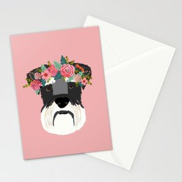 Schnauzer floral crown dog breed pet art schnauzers cute pure breed gifts Stationery Cards