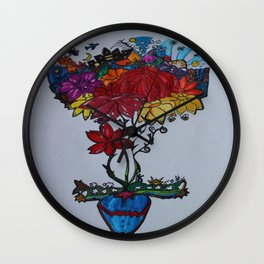 Flowercita de colores Wall Clock