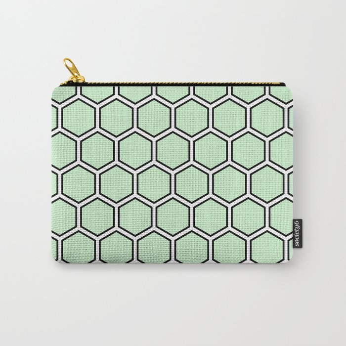Light green, white and black hexagonal pattern Carry-All Pouch
