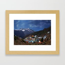 The Sherpa village Namche Bazar - Nepal Himalaya. Framed Art Print