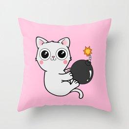 Kitty With a Ball of YaaAAAAA!!! - Explosives Expert Boom Cat Throw Pillow