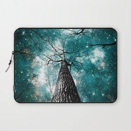 Wintry Trees Galaxy Skies Teal Laptop Sleeve