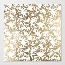 Vintage faux gold elegant floral damask Canvas Print