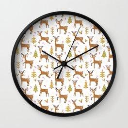 Pastel green brown cute Christmas deer festive pattern Wall Clock