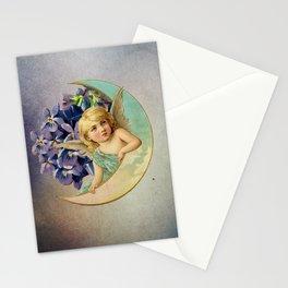 sweet angel angelic cherub girl flowers moon Stationery Cards