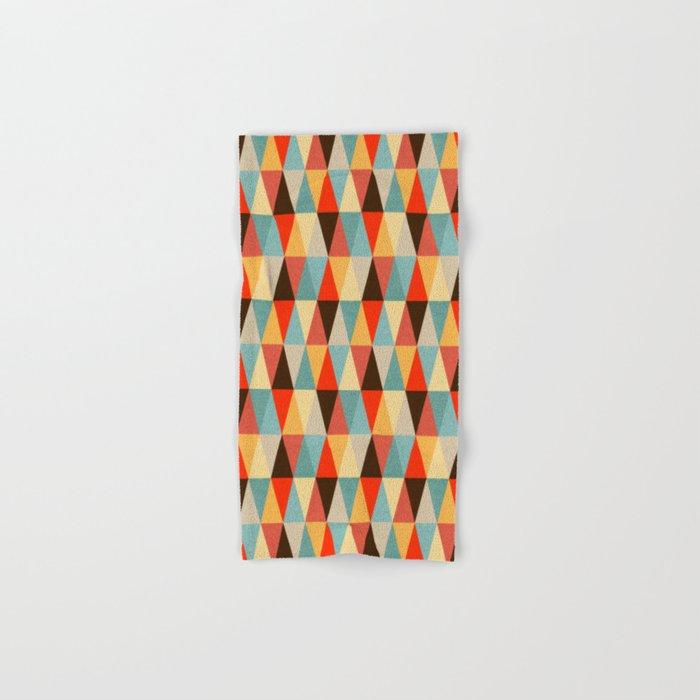 Red & Brown Geometric Triangle Pattern Hand & Bath Towel