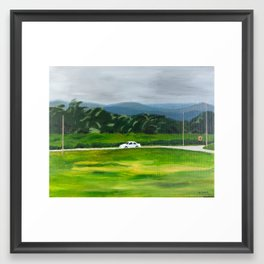 White Car Framed Art Print