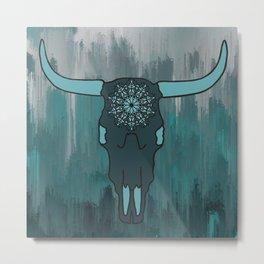 Steer Skull Mandala Metal Print