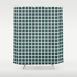 Grid (White & Jungle Green Pattern) Shower Curtain