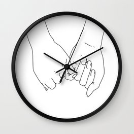 Pinky Promise I Love You Forever Line Art Minimal Wall Clock