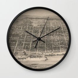 Vintage Pictorial Map of Louisville KY (1860) Wall Clock