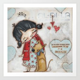 Trusted Confidant - A Girl confides in her Dog Art Print