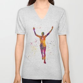 Athlete competing winner in watercolor Unisex V-Neck