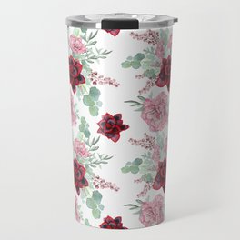 Succulents Pastel Red Pink Mint Green Pattern 2 Travel Mug