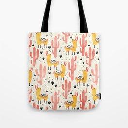 Yellow Llamas Red Cacti Tote Bag