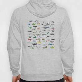 Various Colorful Airplanes and Helicopters Hoody