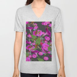 Decorative Pink Morning Glories on Grey Art Design Unisex V-Neck