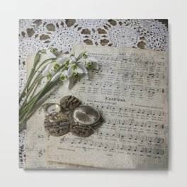 Snowdrops and Vintage Watches Metal Print