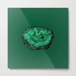 Agate Crystal Gemstone in Emerald Forest Green Malachite Metal Print