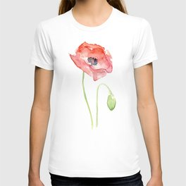 Red Poppy Watercolor Flower Floral Abstract T-shirt