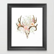 Bohemian deer skull and antlers with flowers Framed Art Print