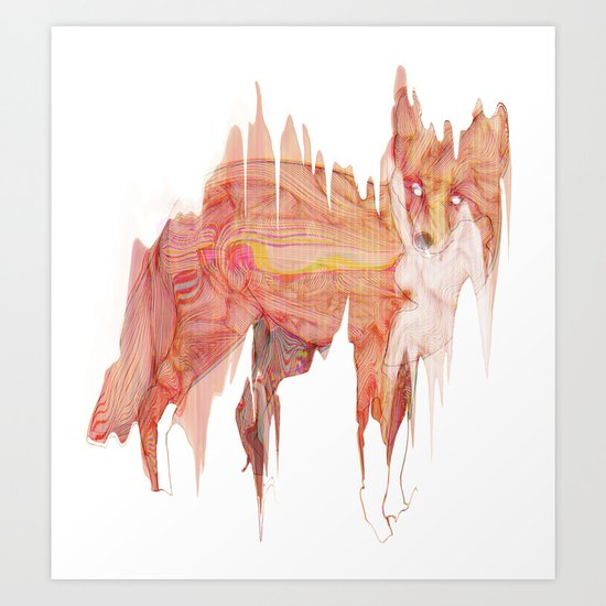 Remix Red Fox Art Print