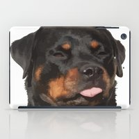 rottweiler iPad Cases featuring Cute Rottweiler With Tongue Out by taiche
