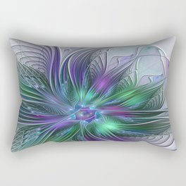 Floral Energy Colorful Abstract Fractal Art Flower Rectangular Pillow