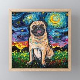 Happy Pug Night Framed Mini Art Print